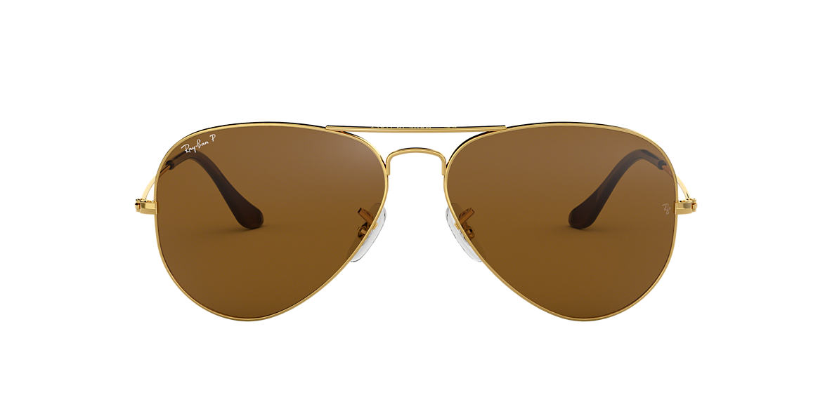 RAY-BAN Gold RB3025 62 ORIGINAL AVIATOR Brown polarized lenses 62mm