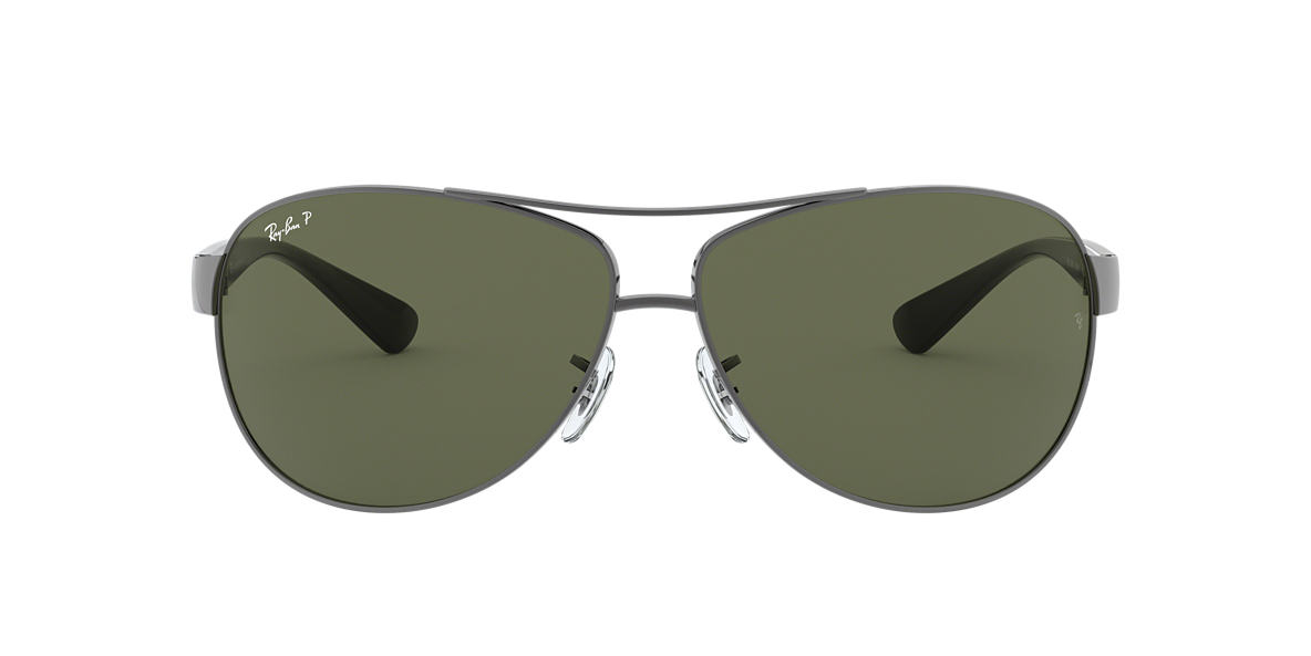 RAY-BAN Gunmetal RB3386 63 Green polarised lenses 63mm