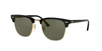 ray ban classic clubmaster black  Ray-Ban RB3016 49 CLUBMASTER 49 Green \u0026 Black Polarized Sunglasses ...