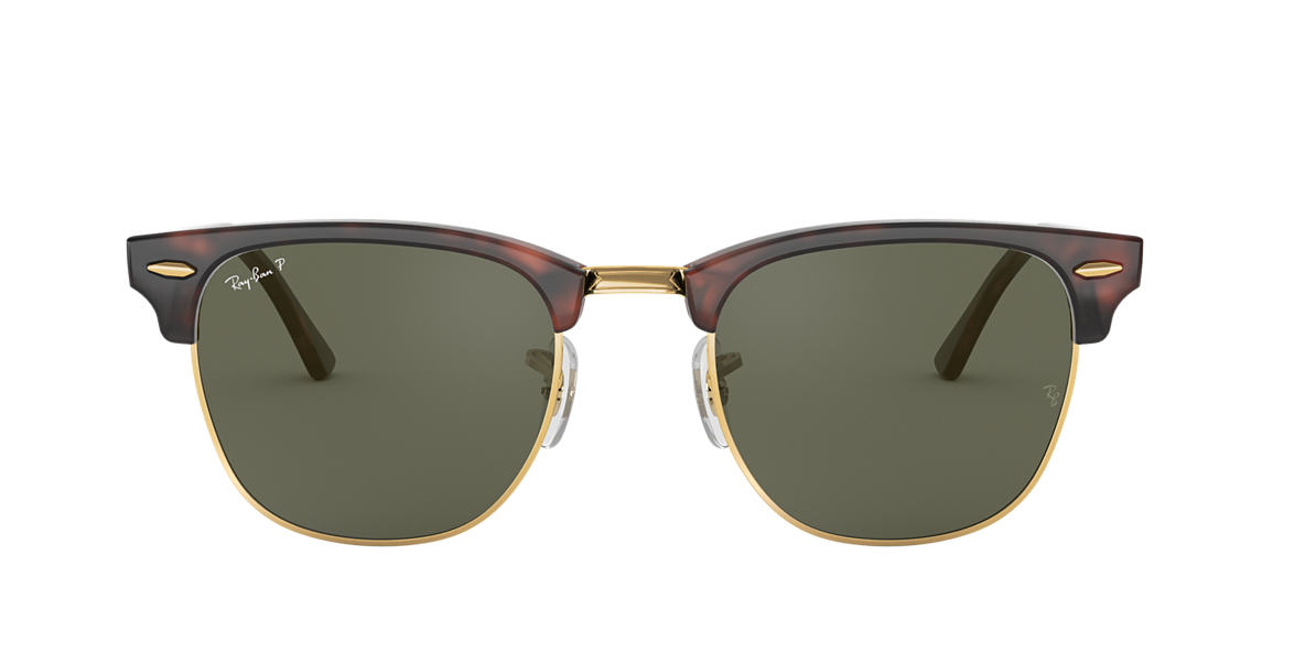 RAY-BAN Tortoise RB3016 49 CLUBMASTER Green polarized lenses 49mm