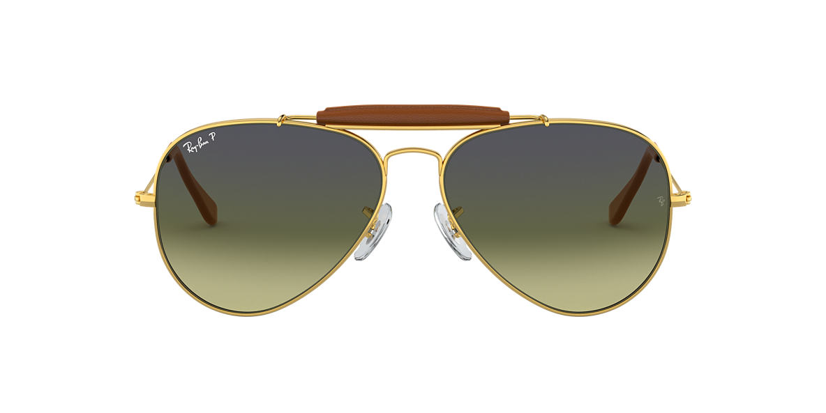 RAY-BAN Gold RB3422Q 58 AVIATOR CRAFT Green polarized lenses 58mm