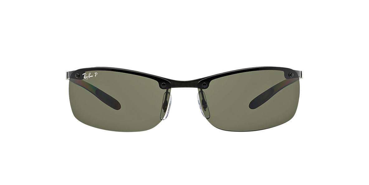RAY-BAN Black RB8305 64 CARBON FIBRE Green polarized lenses 64mm