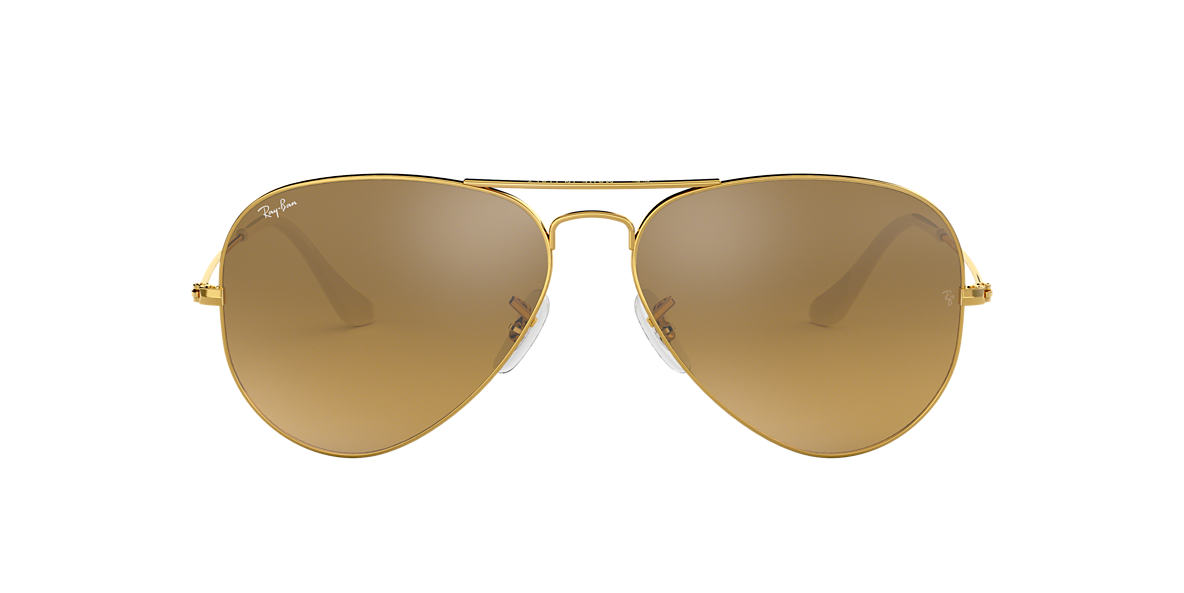 RAY-BAN Gold RB3025 55 ORIGINAL AVIATOR Silver lenses 55mm