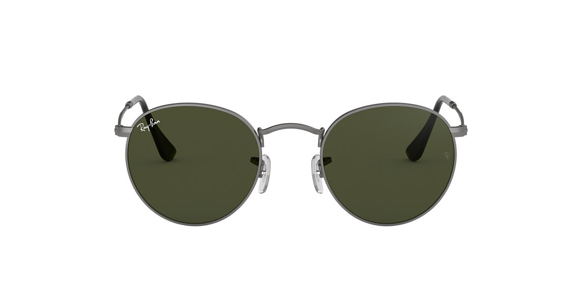 ray ban round metal sunglasses uk  ray ban rb3447 50 round metal 50 green & gunmetal sunglasses