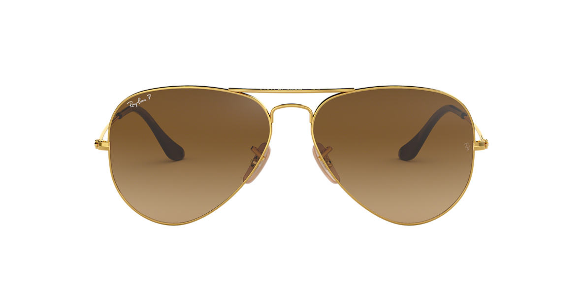 RAY-BAN Gold RB3025 58 ORIGINAL AVIATOR Brown polarised lenses 58mm