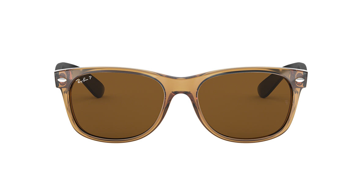 ray ban wayfarer sunglasses with polarised lens  ray ban rb2132 55 new wayfarer 55 brown & brown polarized sunglasses