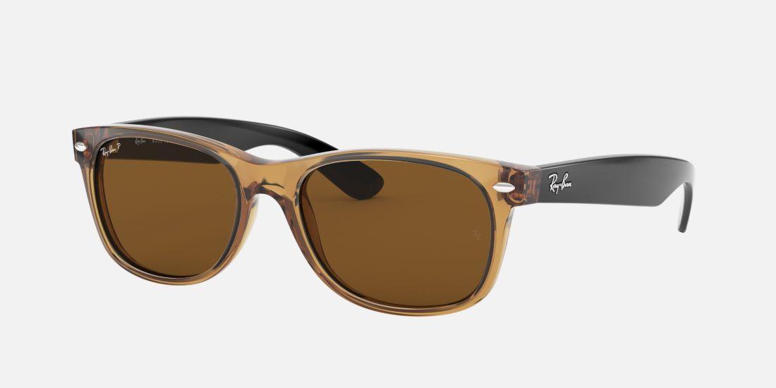 Clear Frame Ray Ban Wayfarer Glasses : Ray-Ban RB2132 55 NEW WAYFARER 55 Brown & Brown Polarized ...