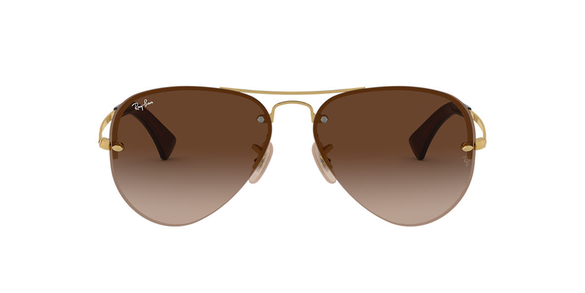 RAY-BAN Gold RB3449 Brown lenses 59mm