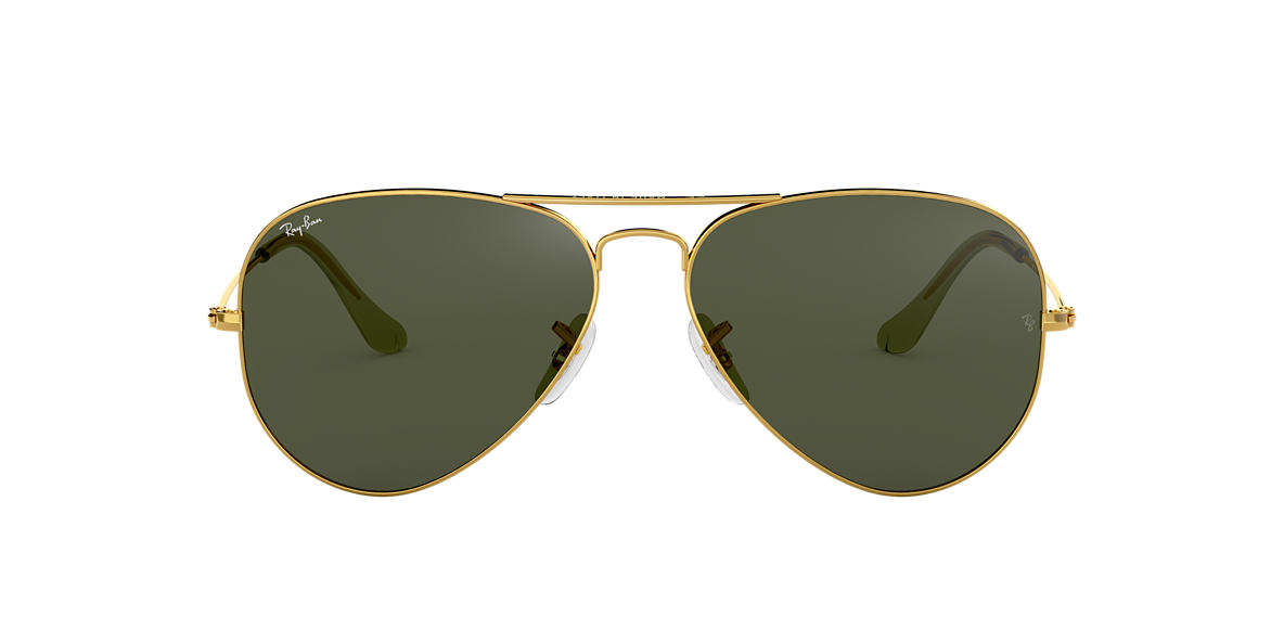 RAY-BAN Gold Shiny RB3025 58 ORIGINAL AVIATOR Green lenses 58mm