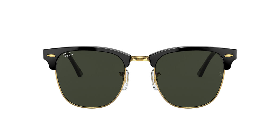 RAY-BAN Black Shiny RB3016 49 CLUBMASTER Green lenses 49mm