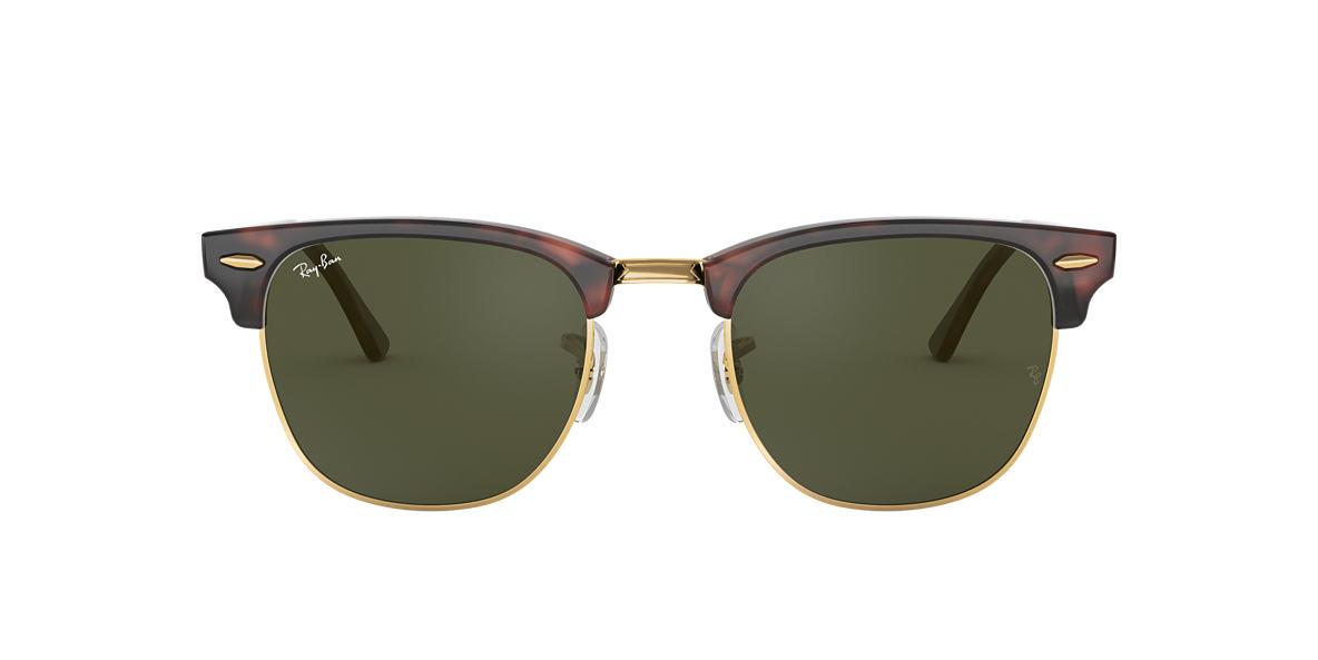 ray ban rb3016 classic clubmaster sunglasses  ray ban rb3016 49 clubmaster 49 green & tortoise sunglasses