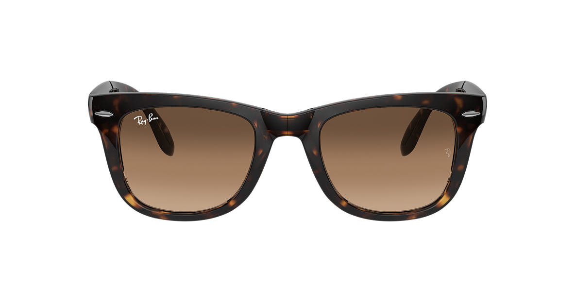 RAY-BAN Tortoise RB4105 54 FOLDING WAYFARER Brown lenses 54mm