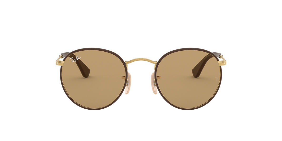 RAY-BAN Gold Matte RB3475Q 50 ROUND CRAFT Brown lenses 50mm