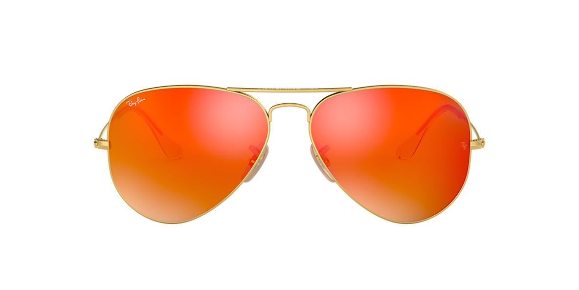 RAY-BAN Gold RB3025 55 ORIGINAL AVIATOR Orange lenses 55mm