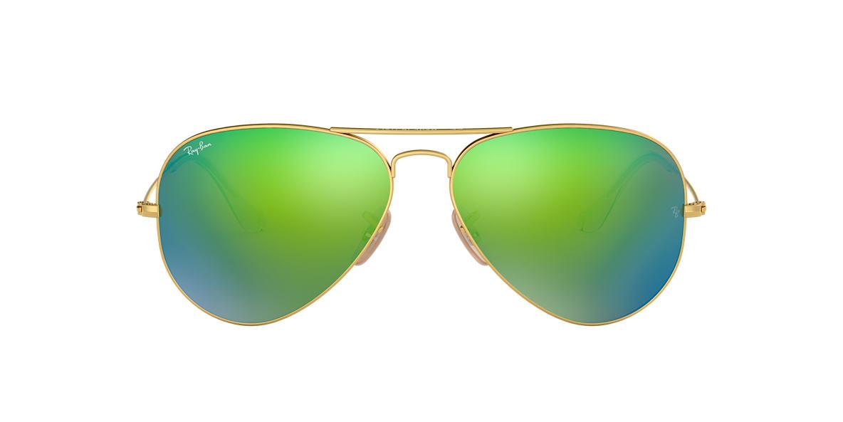 rb3025 55 ywe9  Ray-Ban RB3025 55 ORIGINAL AVIATOR 55 Green & Gold Matte Sunglasses   Sunglass Hut USA
