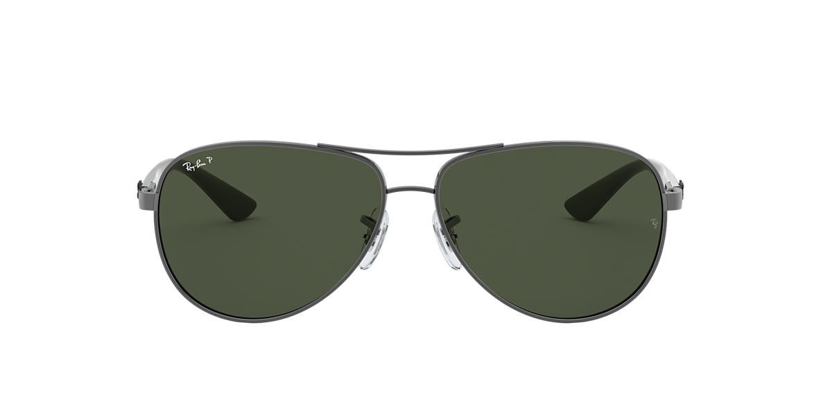 ray ban gunmetal rb8313 61 carbon fibre green polarized lenses 61mm