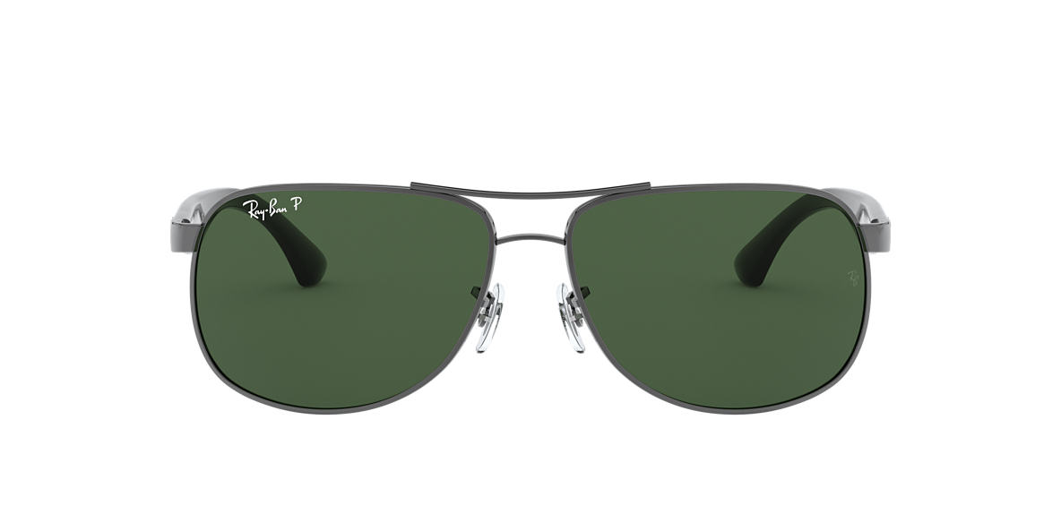 RAY-BAN Gunmetal RB3502 61 Green polarised lenses 61mm