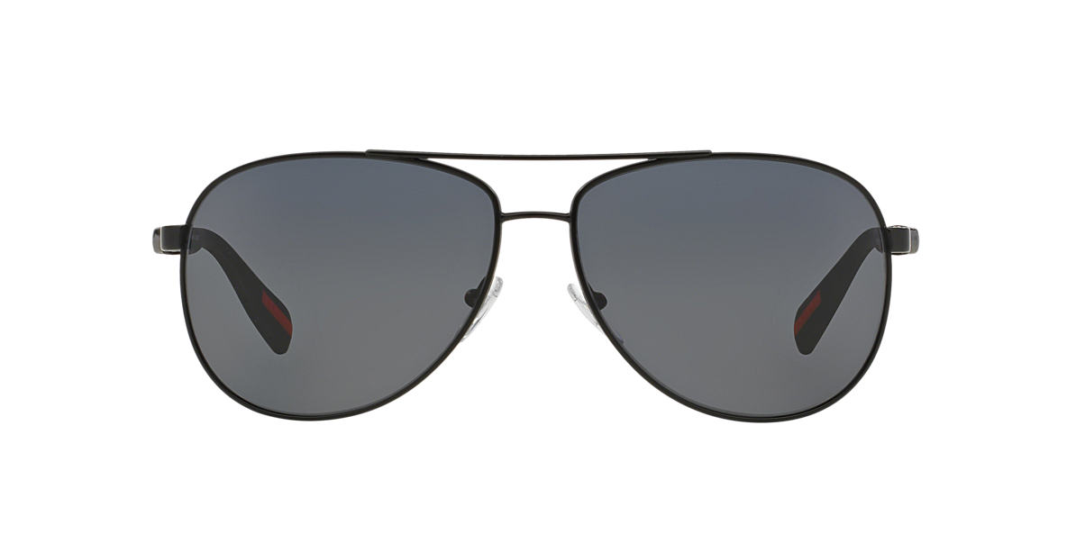 PRADA LINEA ROSSA Black Matte PS 51OS Grey polarized lenses 62mm