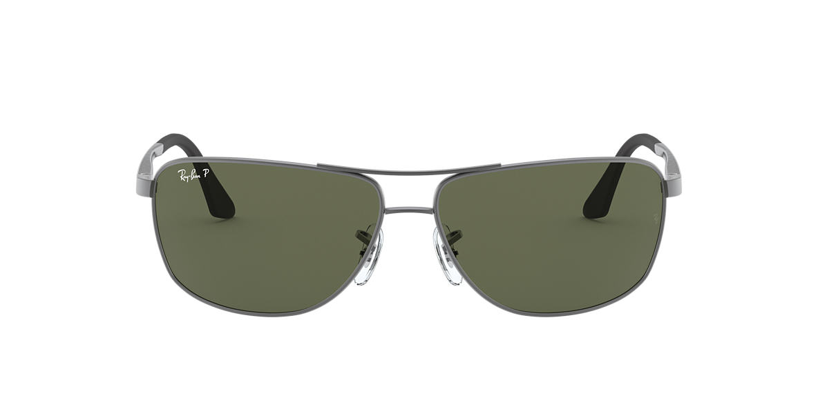 RAY-BAN Gunmetal RB3506 64 Green polarised lenses 64mm