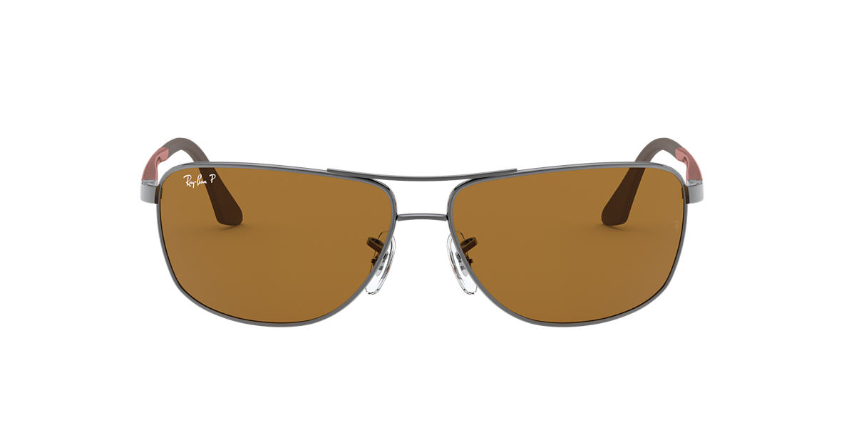 RAY-BAN Gunmetal RB3506 64 Brown polarised lenses 64mm