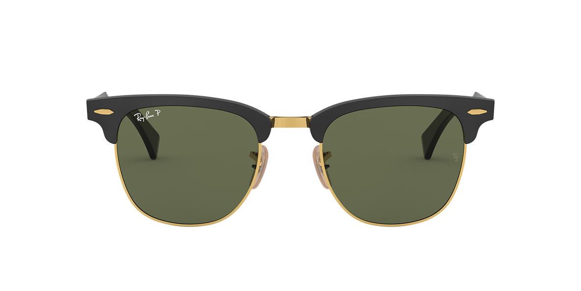 black polarized ray ban wayfarer of4p  Ray-Ban RB3507 51 CLUBMASTER ALUMINUM 51 Green & Black Polarized Sunglasses   Sunglass Hut USA