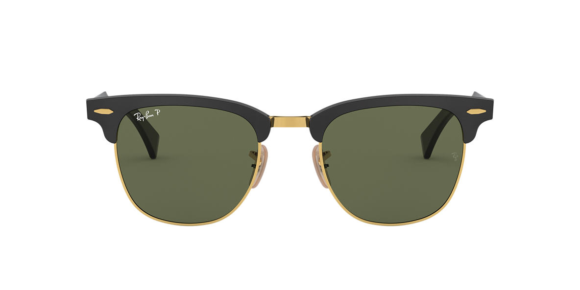 ray ban clubmaster sunglasses aluminium  ray ban rb3507 51 clubmaster aluminum 51 green & black polarized sunglasses