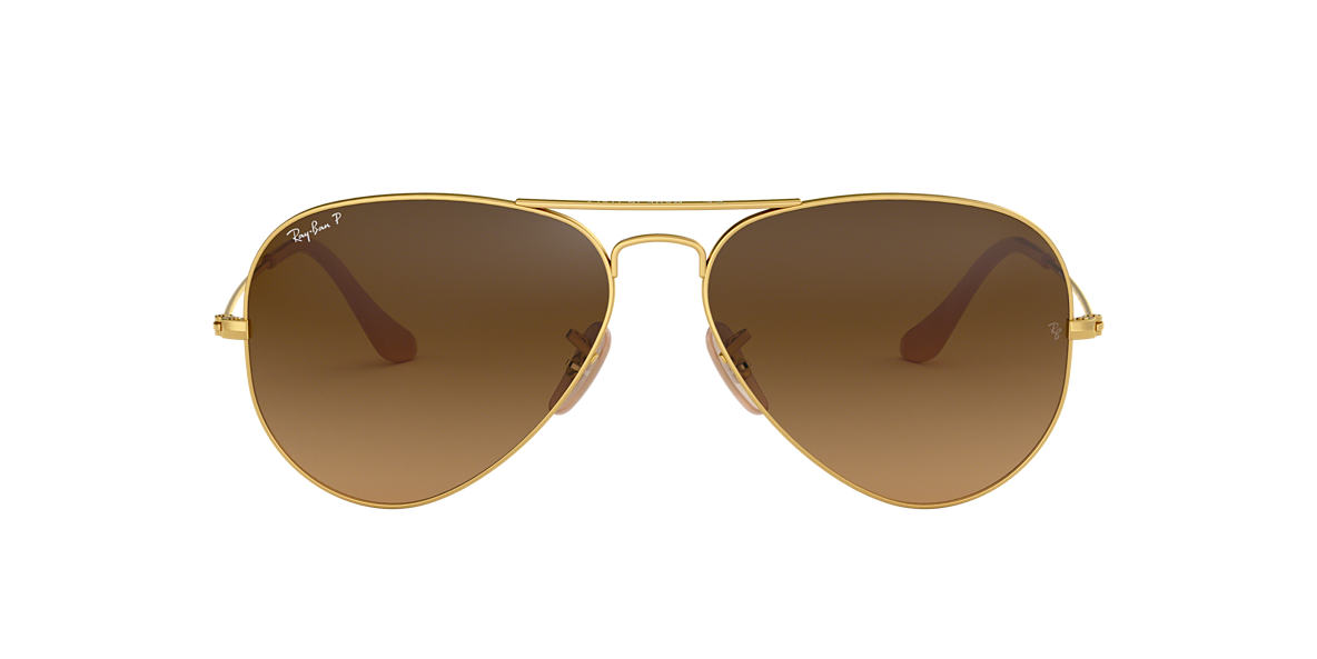 RAY-BAN Gold Matte RB3025 55 ORIGINAL AVIATOR Brown polarized lenses 55mm