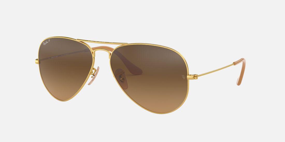 Aviator Sunglasses Gold Frame Brown Lenses : Ray-Ban RB3025 55 Gold Polarized Aviator Sunglasses ...