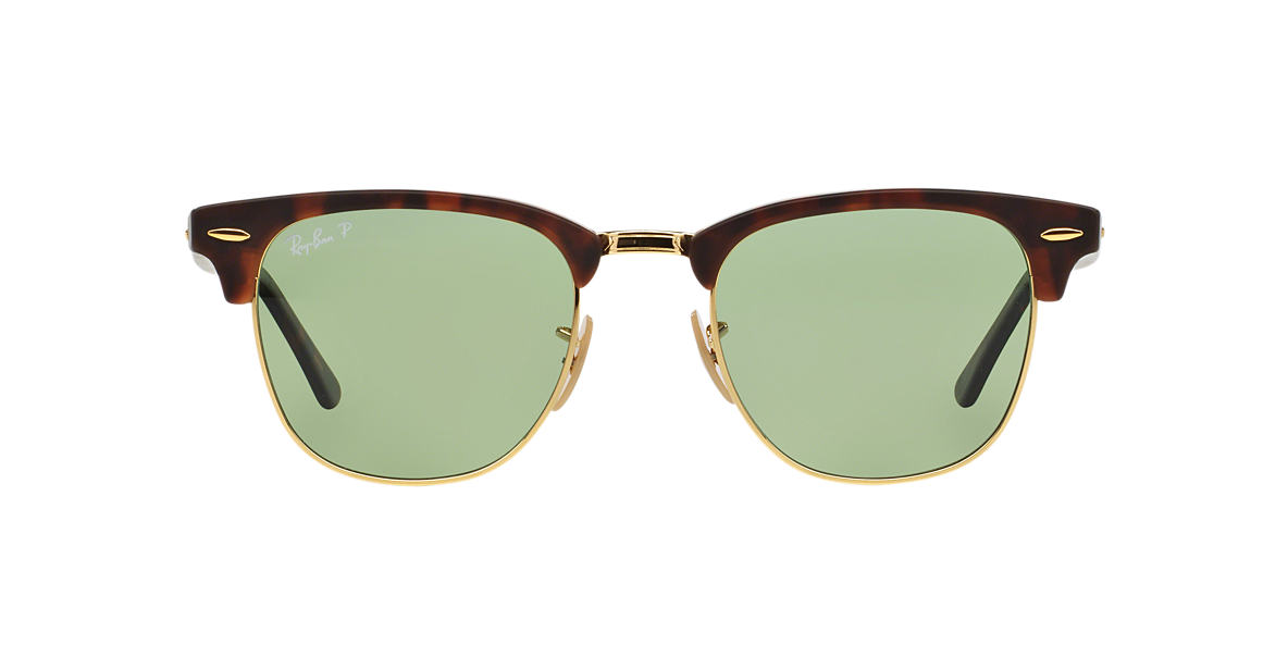 RAY-BAN White RB3016 49 CLUBMASTER Green polarized lenses 49mm