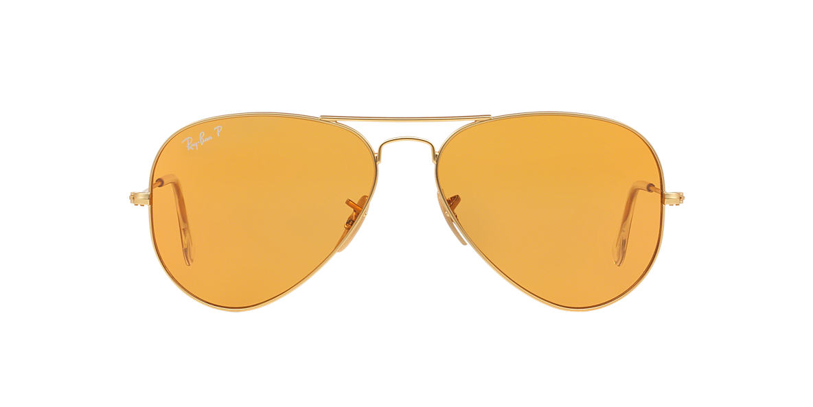RAY-BAN Gold RB3025 58 ORIGINAL AVIATOR Orange polarised lenses 58mm