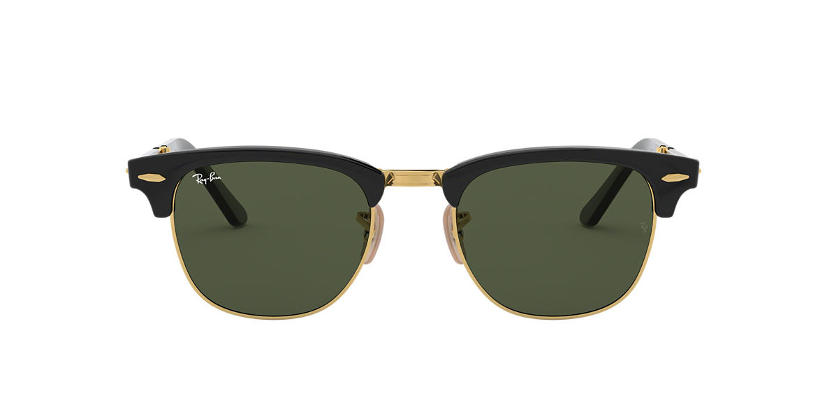 RAY-BAN Black RB2176 51 CLUBMASTER FOLDING Green lenses 51mm
