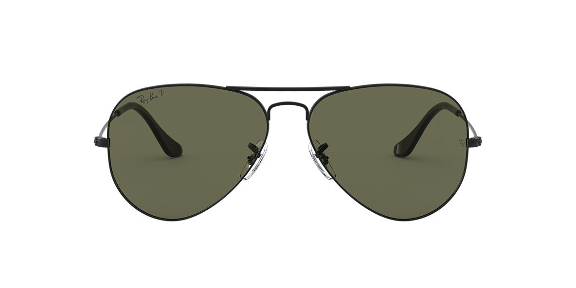 RAY-BAN Black Matte RB3025 58 ORIGINAL AVIATOR Green polarized lenses 58mm