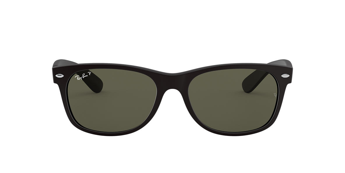 RAY-BAN Black Matte RB2132 55 NEW WAYFARER Green polarized lenses 55mm