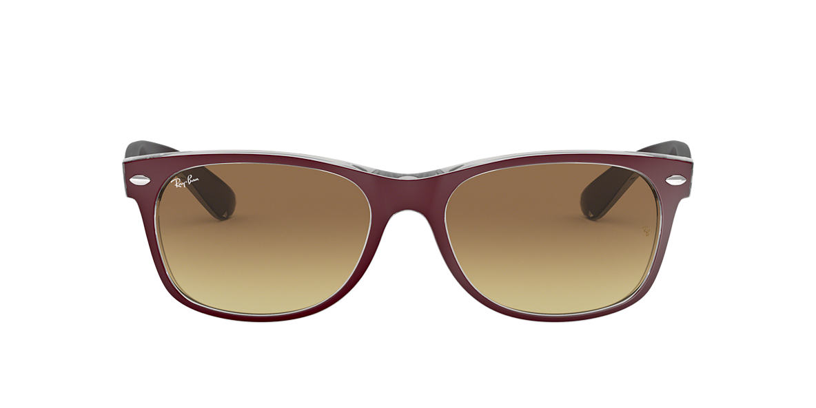 RAY-BAN Burgundy RB2132 52 NEW WAYFARER Brown lenses 52mm