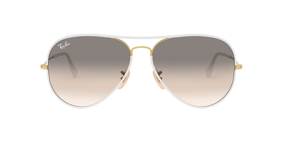 RAY-BAN White RB3025JM 55 AVIATOR FULL COLOR Grey lenses 55mm