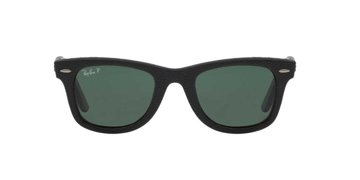RAY-BAN Black RB2140QM 50 WAYFARER LEATHER Green polarized lenses 50mm