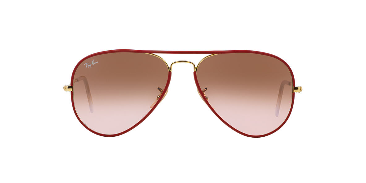 RAY-BAN Gold RB3025JM 58 AVIATOR FULL COLOR Pink lenses 58mm