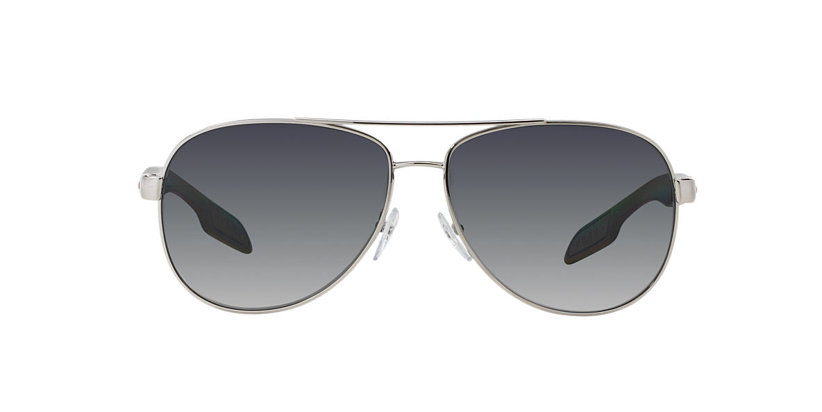 PRADA LINEA ROSSA Silver PS 53PS Grey polarised lenses 62mm
