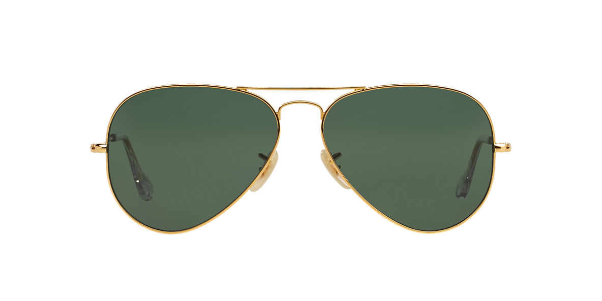 RAY-BAN Gold RB3025K 58 AVIATOR SOLID GOLD Green polarized lenses 58mm
