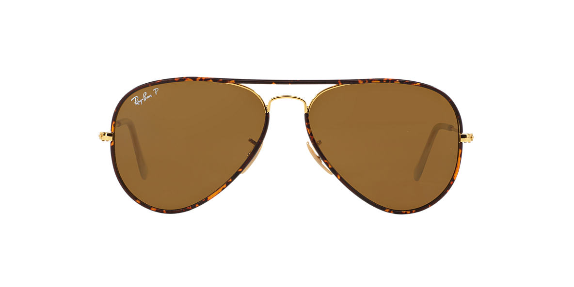 RAY-BAN Gold RB3025JM 58 AVIATOR FULL COLOR Brown polarized lenses 58mm