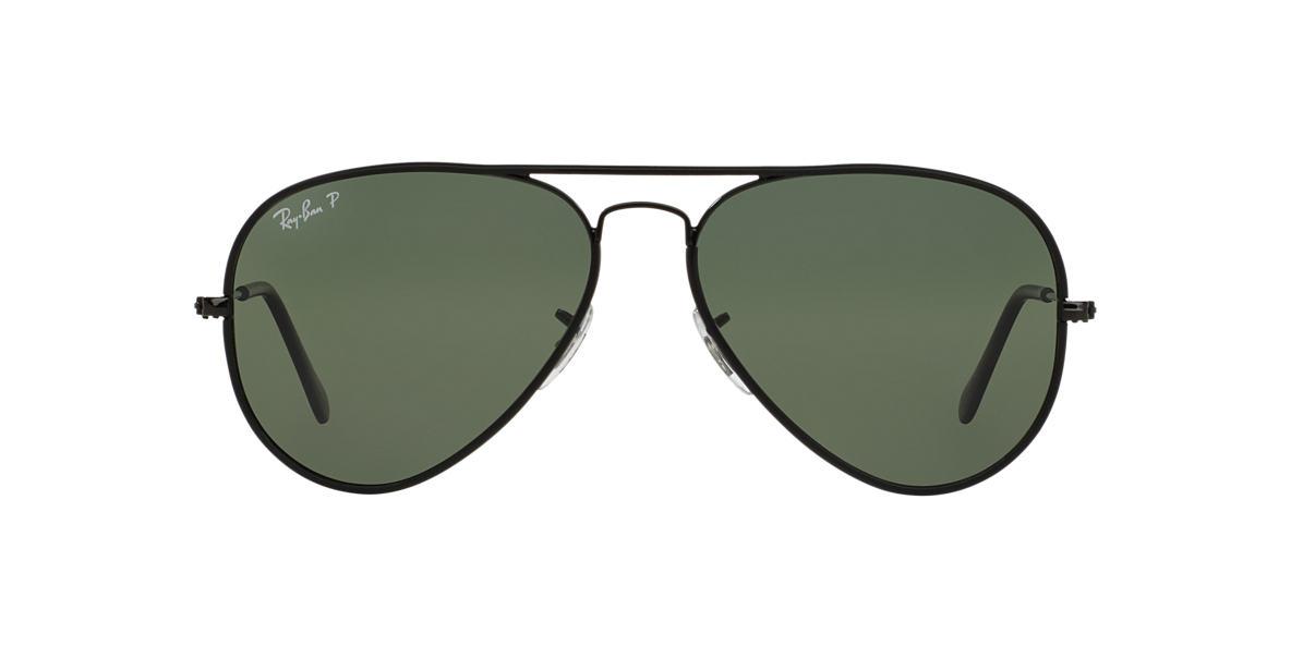 RAY-BAN Black RB3025JM 58 AVIATOR FULL COLOR Green polarized lenses 58mm
