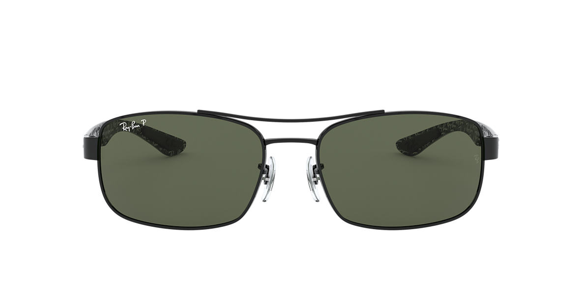 RAY-BAN Black RB8316 62 CARBON FIBRE Green polarised lenses 62mm