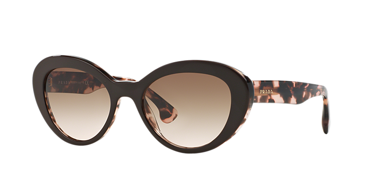 Prada Pr 15qs 53 Brown Oval Sunglasses