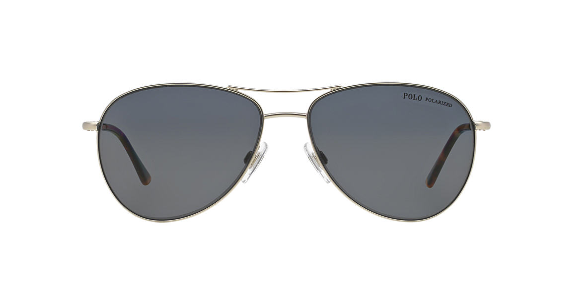 POLO RALPH LAUREN Silver Matte PH3084 Grey polarized lenses 58mm