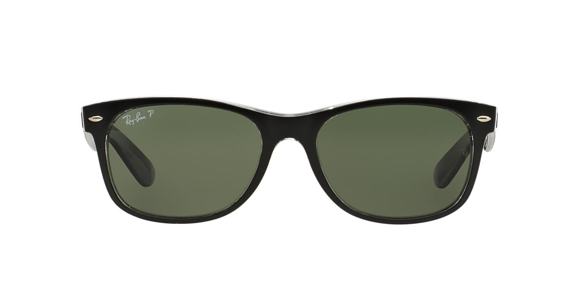 RAY-BAN Black RB2132 55 NEW WAYFARER Green polarized lenses 55mm
