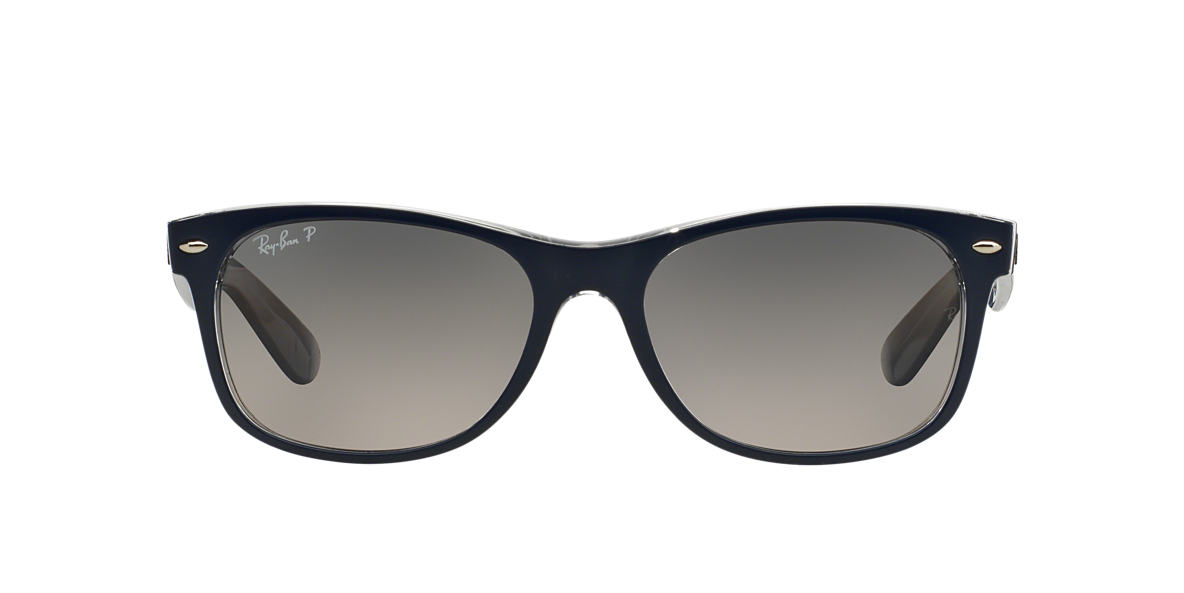 new wayfarer sunglasses 1qul  RAY-BAN Blue RB2132 55 NEW WAYFARER Grey polarized lenses 55mm