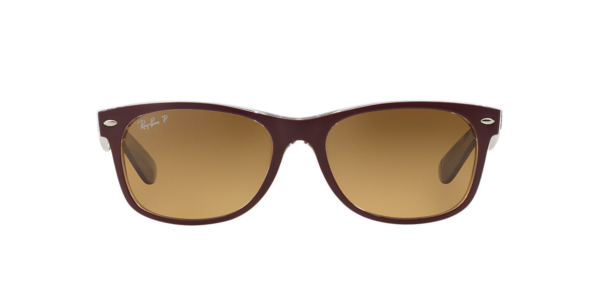 RAY-BAN Burgundy RB2132 55 NEW WAYFARER Brown polarized lenses 55mm