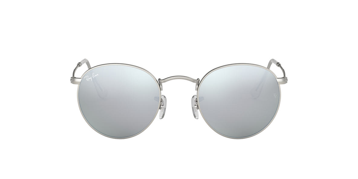 ray ban silver metal polarized aviator sunglasses  ray ban rb3447 50 round metal 50 silver & silver matte sunglasses