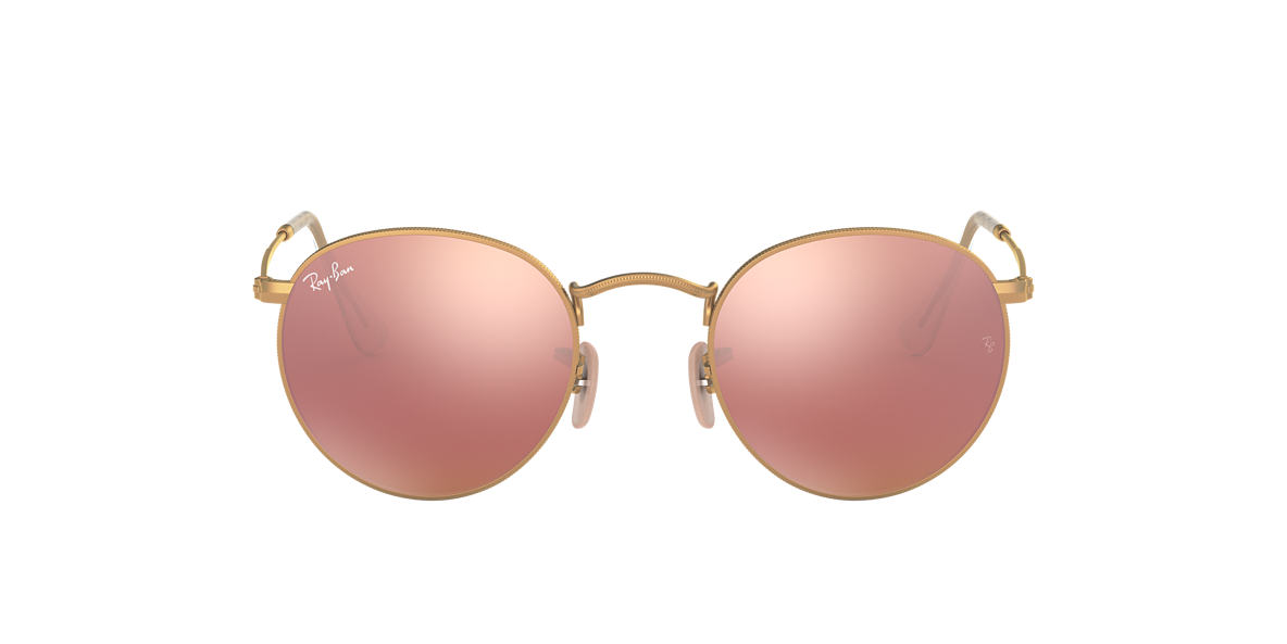 ray bans sunglasses gold  ray ban rb3447 50 round metal 50 pink & gold matte sunglasses