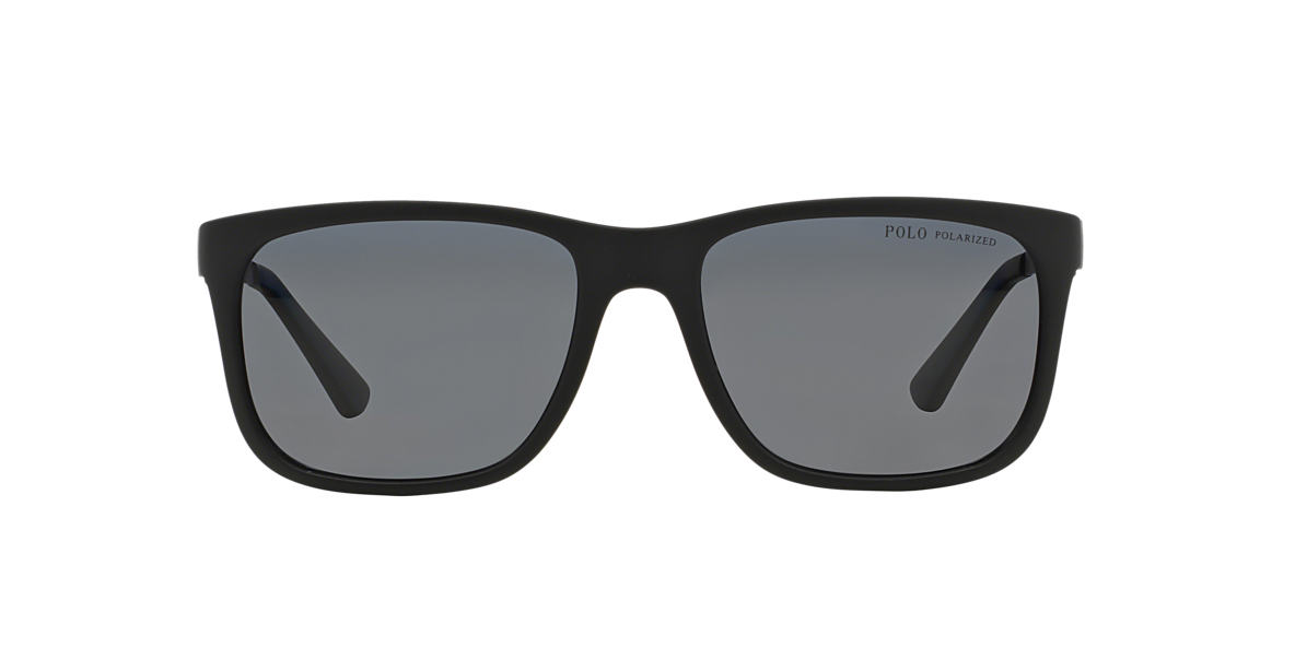 POLO RALPH LAUREN Black Matte PH4088 55 Grey polarized lenses 55mm